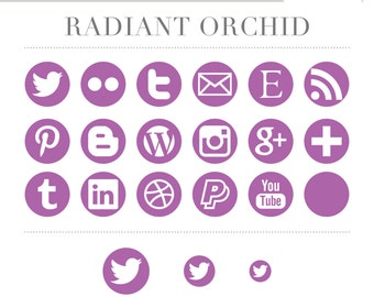 Social Media Icons - Simple Circles - Radiant Orchid Purple Violet - Instant Download