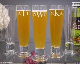 Monogrammed Beer Glass Groomsen Gift - (ONE) Custom Engraved Katrina Beer Glass - Personalized Wedding Gift - Monogram Design Mens Gift