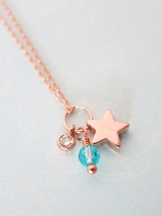 Petite Lucky Star necklace - simple rose gold FILLED necklace with a lucky Star, crystal, chic, simple, best friends, sisters, aquamarine