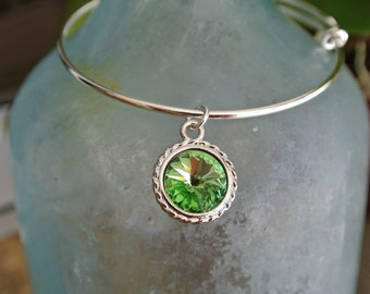 Peridot bracelet // Peridot Crystal Swarovski Charm //  August Birthstone bracelet // adjustable bangle bracelet