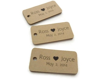 80 Count - Custom Wedding Favor Tags - Thank You Tags - Personalized Tag - 2 in x 1 in - Wedding Favor Tags  - Rustic Wedding Tags
