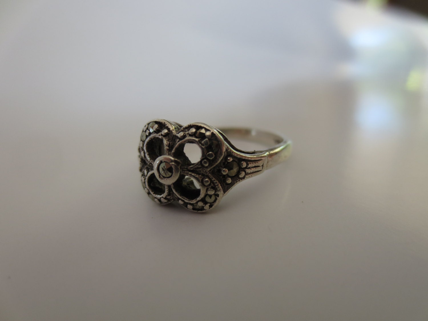 vintage silver marcasite ring antique jewelry by