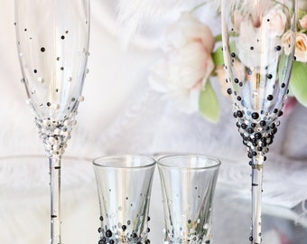 Bride and groom Pearl champagne flutes and shot glasses/   Wedding Glasses Set / Black & White