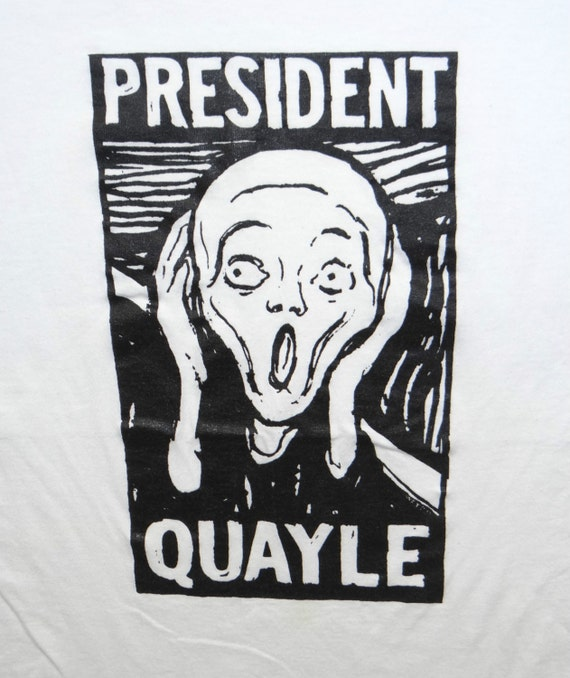 Vintage QUAYLE Munch Scream Art Republican GOP 50/50 Screen Stars Political Satire