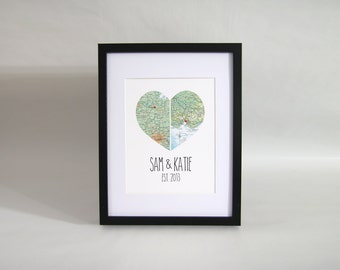 Personalised Couple Map Heart Print