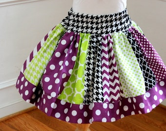 girls Halloween skirt chevron polka dot quatrefoil skirt chevron skirt lime green purple and black skirt  toddler girl Halloween
