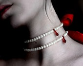 M2O Embrace Choker (vampire bite necklace, glass pearls, swarovski crystals, satin ribbon)