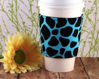 Fabric Coffee Cozy / Animal Print on Blue Coffee Cozy / Animal Print Coffee Cozy / Coffee Cozy / Tea Cozy