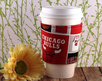 CLEARANCE / Fabric Coffee Cozy / Chicago Bulls Coffee Cozy / NBA Coffee Cozy / Coffee Cozy / Tea Cozy