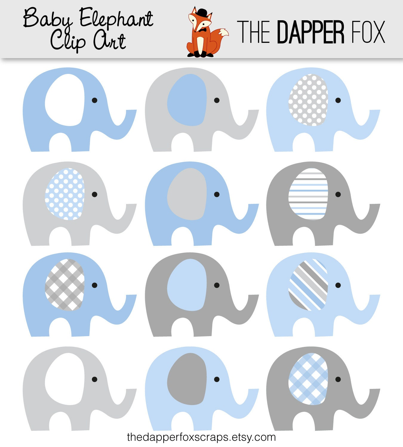 Elephant Baby Shower Clipart