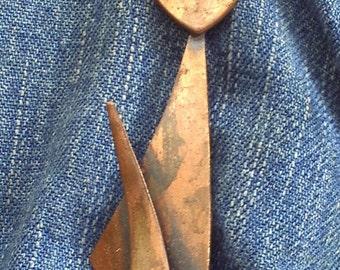 Kitty Cat Brooch Copper