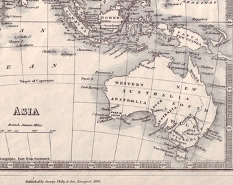 Antique Map of Asia and Australia (1853)