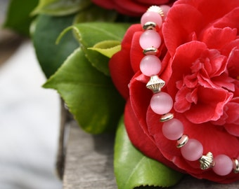 Pink Cats Eye and Silver Bracelet (3053)