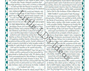 Family Proclamation Printable: 1 {5X7} Printable in Blue