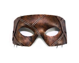 Rafe Bronze Mesh Hand-Painted Men's Masquerade Mask - A-2236BR-E