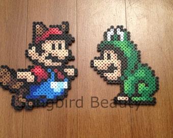Tanooki Mario and Frog Luigi,  Perler Beads, Nintendo, video games, geekery, ornament, magnet
