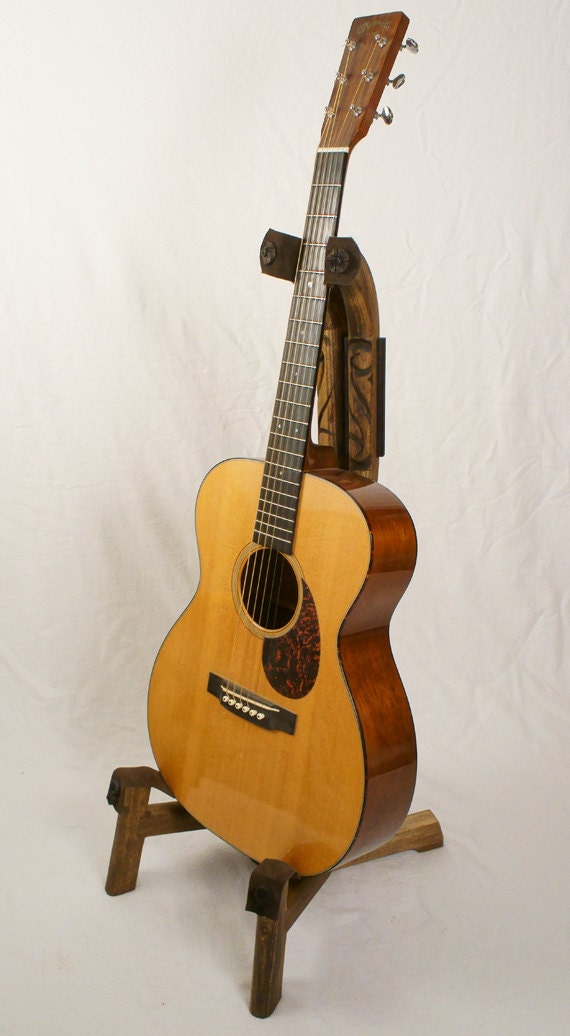 Handcrafted Wooden Guitar Stands ~ Custom wood guitar stand with hand carved scroll detail