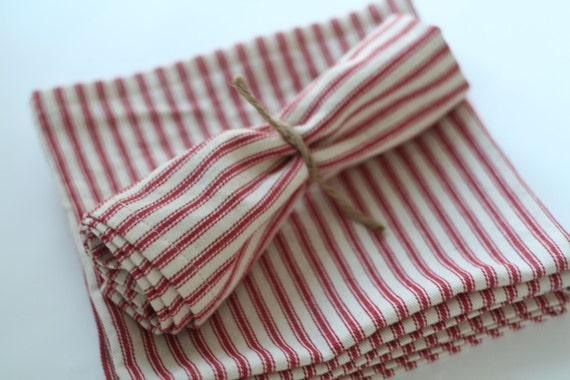 Red stripe cloth napkins, large size red stripe napkins, made to order napkins, red ticking stripe,  Holiday napkins, holiday table setting