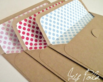 Kraft, Vintage, Dots, Lined Envelopes, Handmade, Retro Wedding