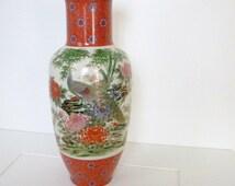 Vintage Toyo Japan Peacocks and Chrysanthemums Vase