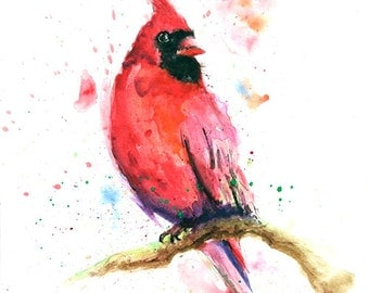 WATERCOLOR CARDINAL PAINTING - cardinal gift, bird artwork, bird wall art, bird decor, red bird painting, cardinal artwork, cardinal art
