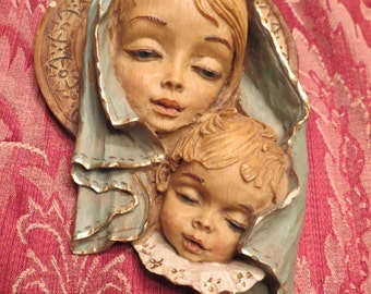 Blonde Madonna and Child Bas Relief Italian Cast and Hand Painted.