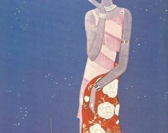 Vogue magazine cover 1926 Les Mode Autumn Woman Smoking Blue Fashion Illustration Vogue Poster Art Deco Home Decor Print Fine Art