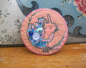 Pink Dragon with Hoard Embroidered Brooch / Pin Badge