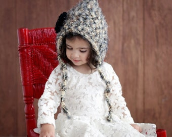 Hat Hood Bonnet Easy CROCHET PATTERN Baby & Girls The Hollyhock Hood Crochet Pattern  From the Danica Collection 3 sizes Newborn to 4T