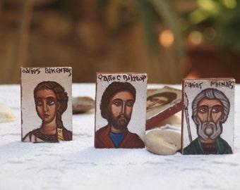 Saint Menas, Saint Victor and St Vincent - Miniature icons of Military Saints, Byzantine religious painting- catholic gift, orthodox gift,