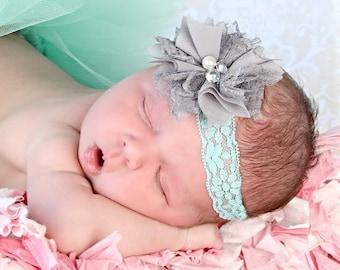Grey Aqua Headband, Aqua Lace Headband, Grey Mint Headband, Gray Lace Headband, Newborn Photo Prop, Baby Shower Gift, Newborn Headband