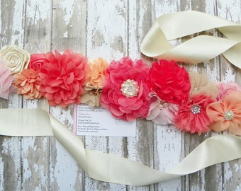 Coral Maternity Sash, Ivory Peach Pink Flower Sash, Coral Bridal Sash, Maternity Sash, Baby Shower, Maternity Photos, Belly Band, Baby Prop