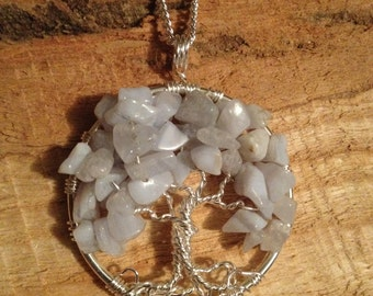 Howlite Tree of Life Pendant - Wire Wrapped Trees Jewelry with Semi-Precious Gemstones