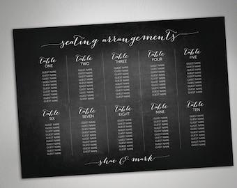 Printable Wedding Seating Chart - Chalkboard, Printable, Instant download