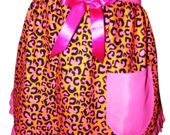 leopard print half apron