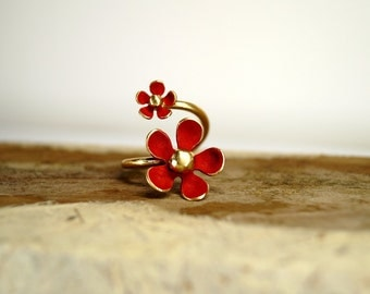 Daisy jewelry, Adjustable ring, Flower ring, Daisy ring, Open ring, Double ring, Gold plated ring, Silver ring, Jewelry, Stackable ring