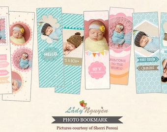 INSTANT DOWNLOAD - 4 Birth announcement Bookmark photoshop templates - CA372Collection
