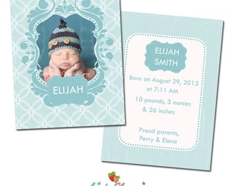 INSTANT DOWNLOAD 5x7 Birth Announcement Card Template - CA294