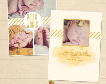INSTANT DOWNLOAD 5x7 Birth announcement card template - CA102