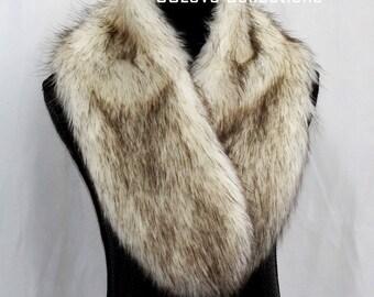 Brown Tip Polar Bear Fur Plush Neck Warmer Beauty Fashion Scarf Wedding Shawl Bridesmaid Scarf Bridal Outfits