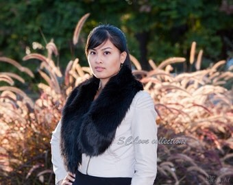 Luxury Faux Fur Scarf Black Shaggy Scarf Stole Wrap Date Night Scarves Best Online Deal