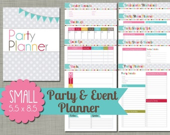 """Party and Event Planner {Printable} Set - Sized Small 5.5"""" x 8.5"""" PDF"""