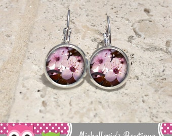Cherry Blossom Earrings Cherry Blossom Jewelry Pink Earrings Pink Jewelry Flower Pendant Zen Pendant Glass Gifts for Her