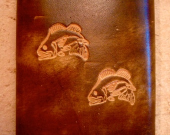 Tooled Brown Leather Trifold Wallet - Bass Fish Pattern