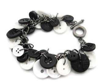 Black and White Bracelet, Button Bracelet, Repurposed Button Bracelet, Black Bracelet, Black Button, Button Jewelry, Recycled Button