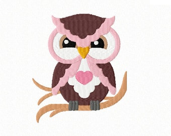 Hoot! Hoot! ~ Cute OWL with Heart ~ Machine Embroidery Design in 2 sizes - Instant Download