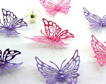 3d Butterfly wall art - Pink and Purple Butterflies - Wall Art - Paper Butterflies - 3d butterflies - Wall Butterflies - Butterfly Art