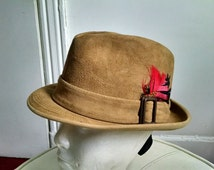 """Vintage Tan Suede Fedora by """"Knox"""" made in the USA - Size 6 7/8"""