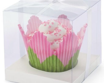 formal cupcake boxes clear 20 ct bakery gift boxes weddings bridal shower party favors black silver white w ribbon