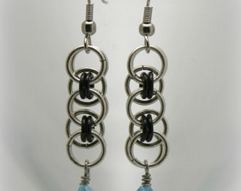 Teal Blue Celtic Line Style Chainmaille, Chain Maille, Chain Mail Earrings -6160003